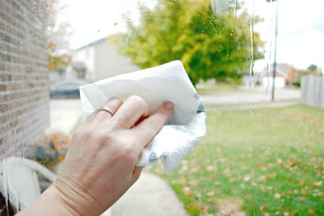 Use a paper towel to wipe away dirt and smudges.
