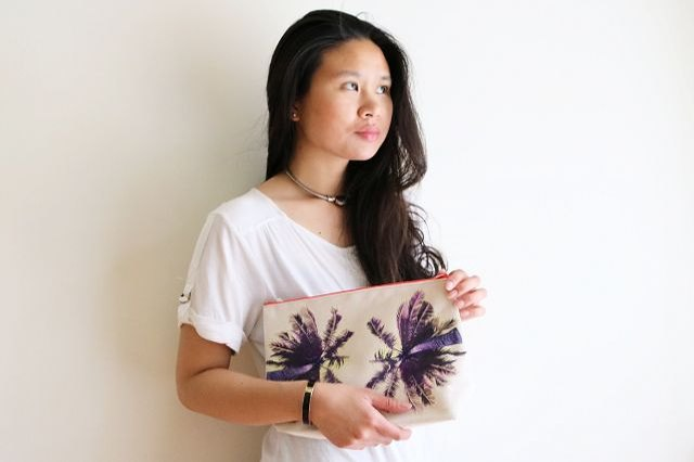 Finished palm tree print canvas clutch