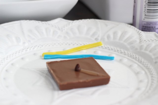 Place a mini chocolate chip in the center of the square.