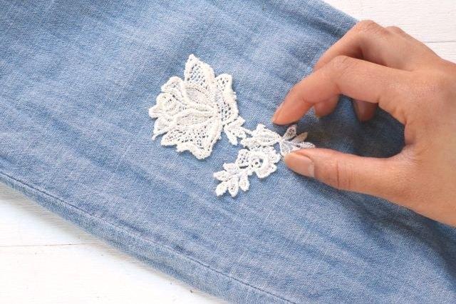 Glue the lace