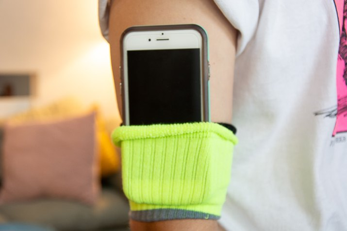 use socks as a diy arm band for your phone