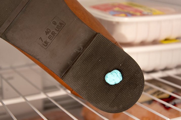 An image of gum on a shoe in the freezer.