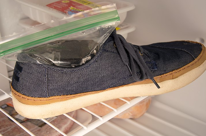 An image of a shoe being stretched in the freezer.