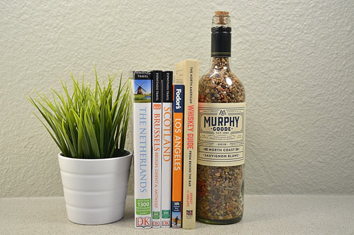 An image of the bookend wine bottle.