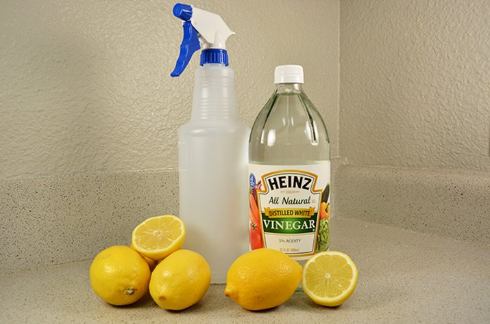 An image of cleaning products on the counter.