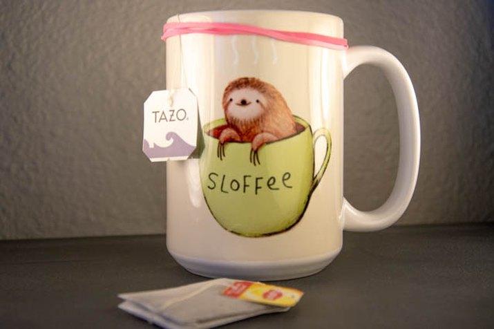 An image of a tea mug rubber band hack society six