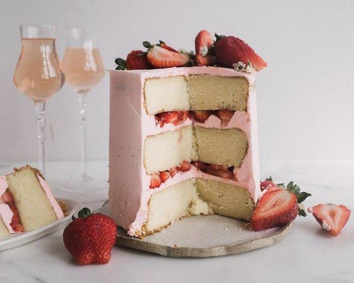 sparkling Strawberry Rosé Cake