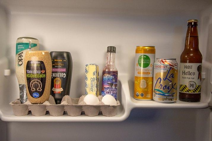 an image of fridge organizer made from an egg carton