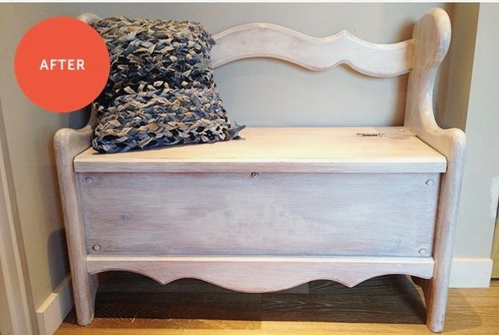 give a wooden storage bench a makeover