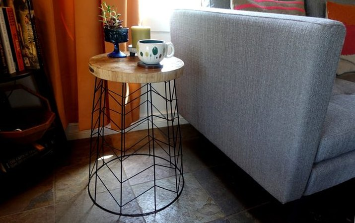 create a side table using a wire basket