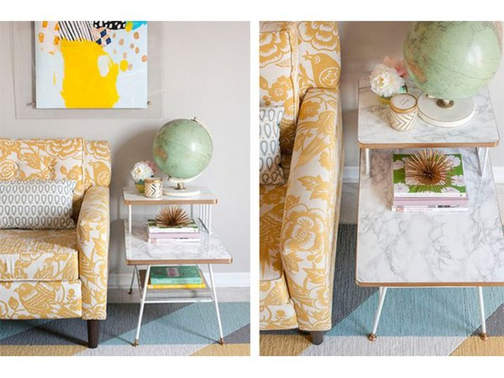 dress up a basic mid-century side table