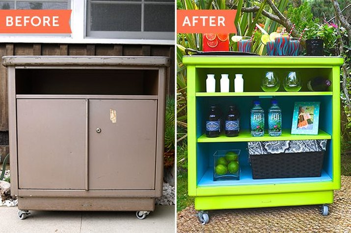 turn a metal cart into a side table