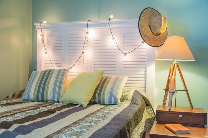 make a headboard out of old shutters
