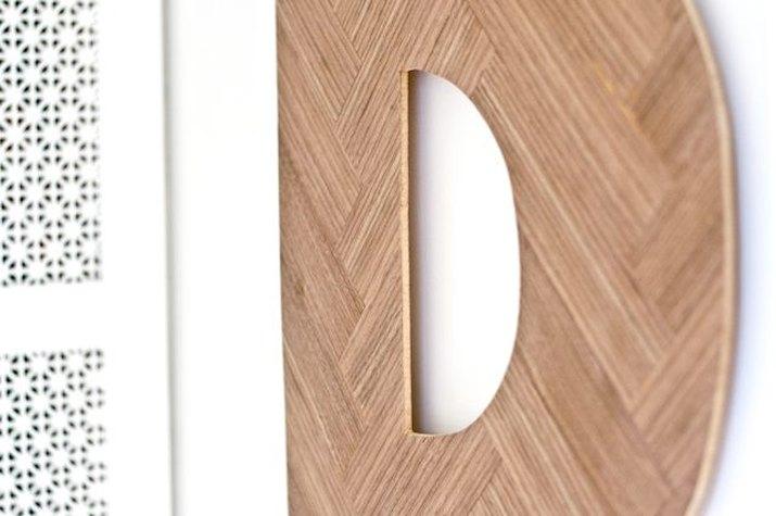 Decorative herringbone wood letter D