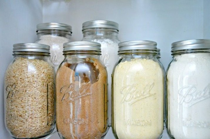 Ball jars filled with dried food goods to keep bugs out