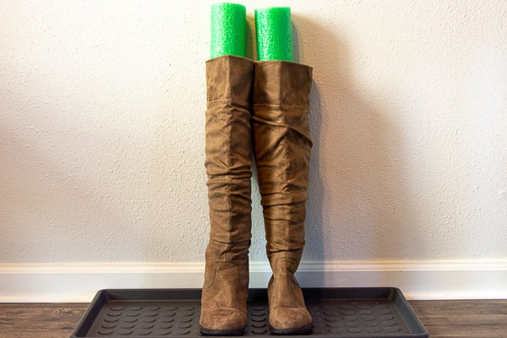 use pool noodles to keep boots upright