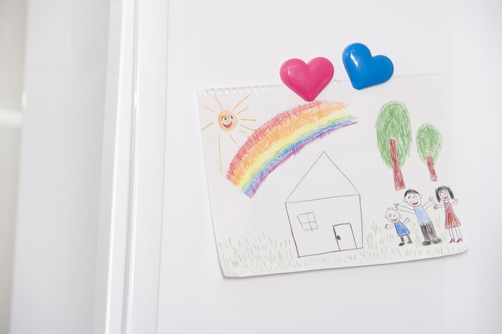 Close-up of picture on refrigerator