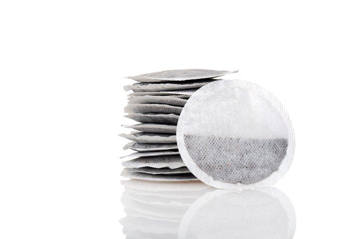closeup of round tea bags