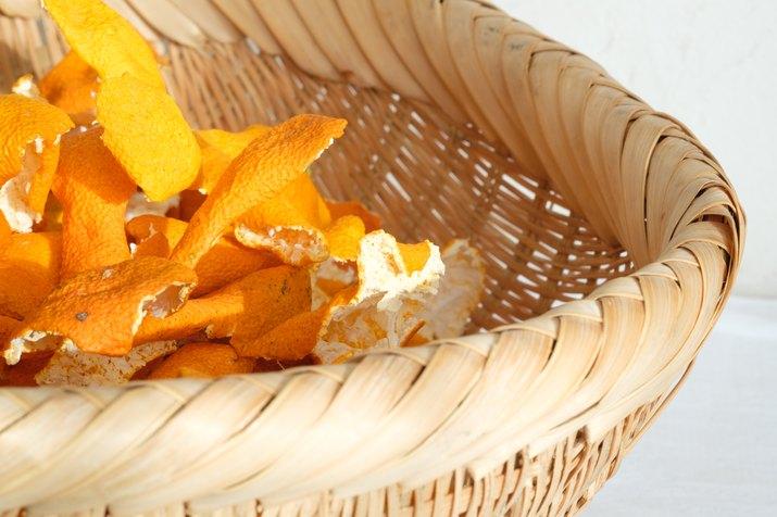 Dried mandarin peel on bamboo basket