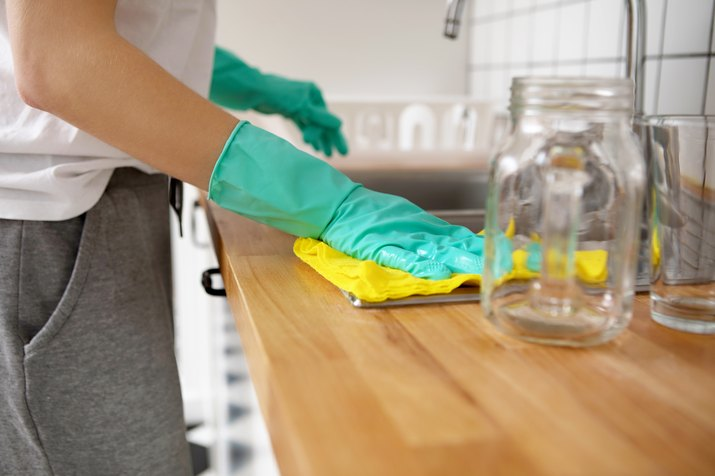 Midsection Of Woman Cleaning Kitchen Counter