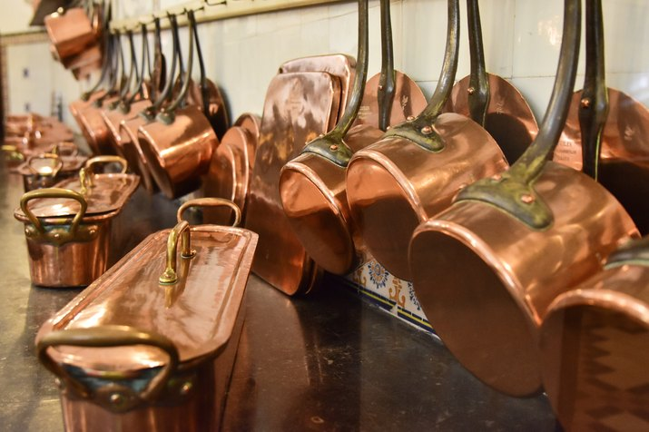 Copper pans in a old kitchen