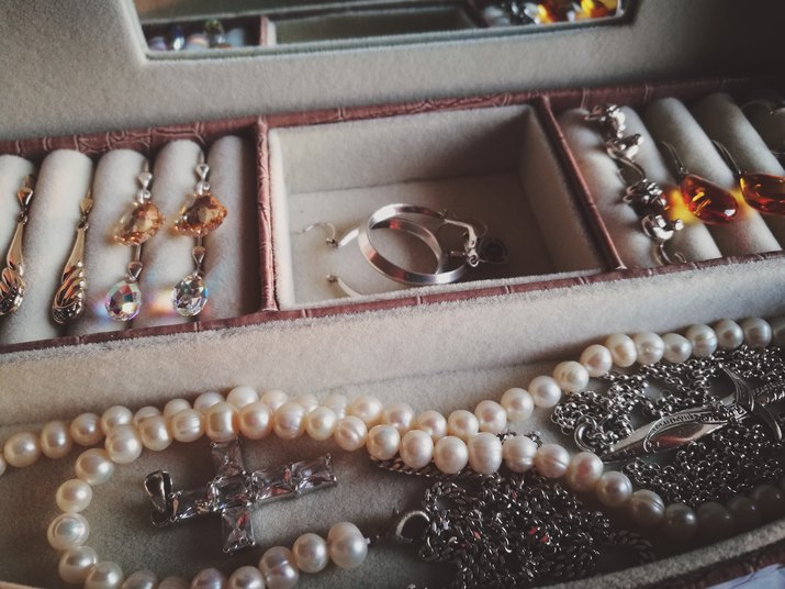 High Angle View Of Jewelry In Box