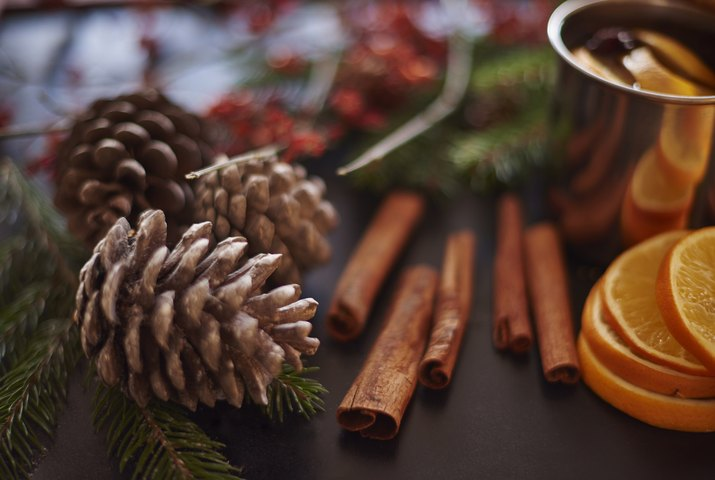 Christmas ingredients and decorations on the table. Debica, Poland