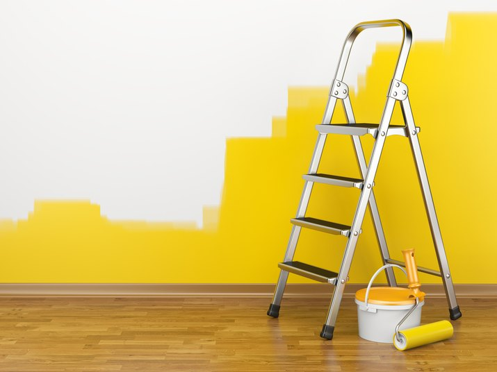 Home Improvement. Ladder, paint can and paint roller