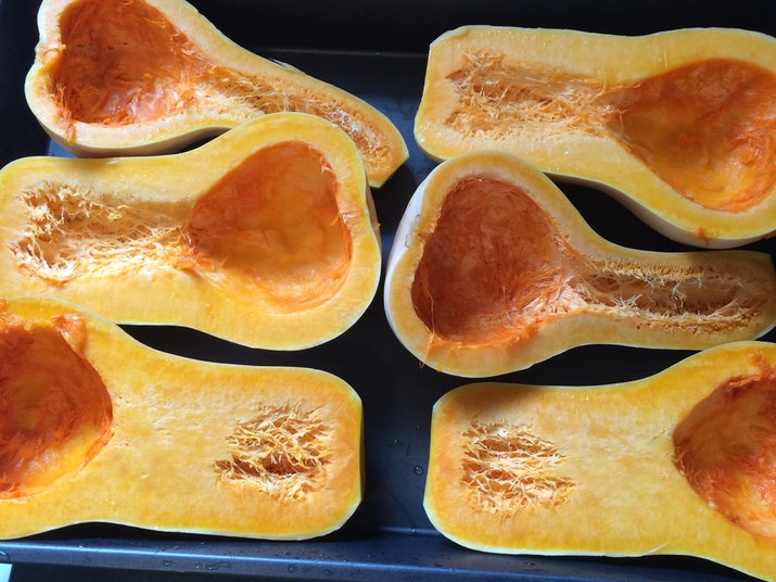 High Angle View Of Butternut Squash In Tray