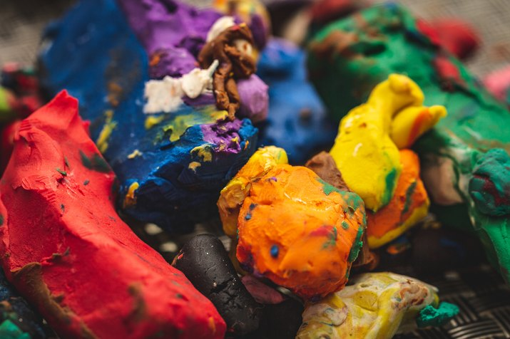 Close-up of colorful messy play doh