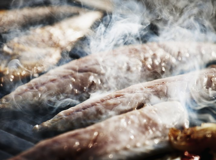 Mackerel cooking on a street food stall,Istanbul