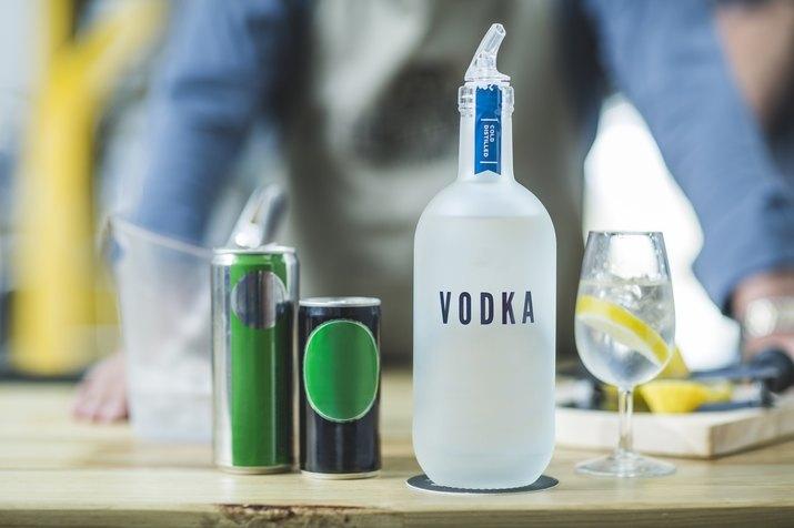 Bottle of vodka in distillery