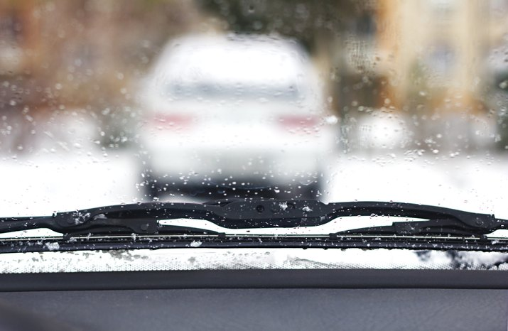 Windshield wipers from inside of car