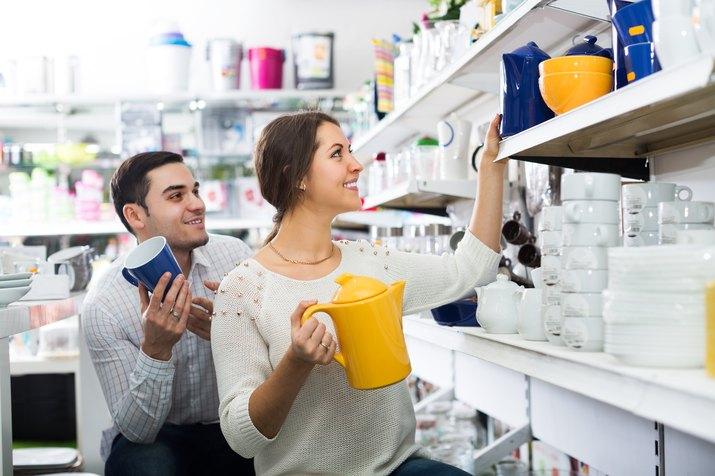 Couple buying ceramic
