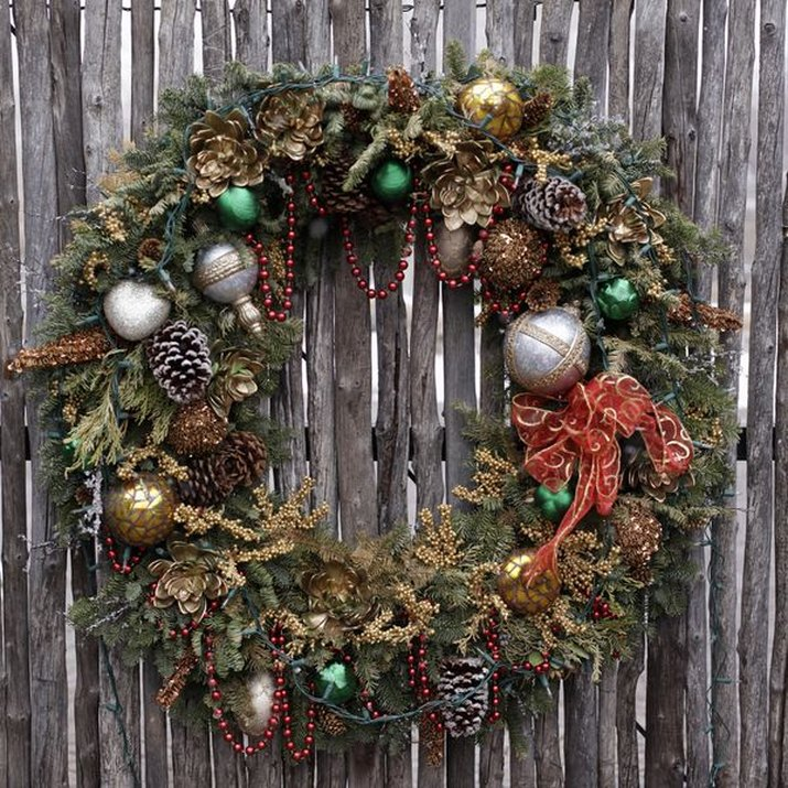 Close-up of a Christmas wreath on a front door