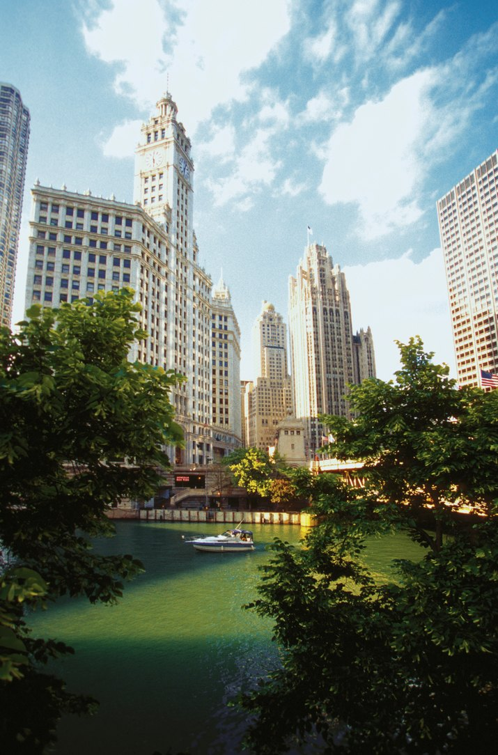 Tribune Tower and river skyline in Chicago, Illinois, USA