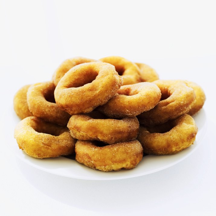 close-up of doughnuts on a plate