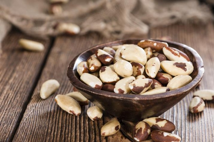 Portion of healthy Brazil Nuts as detailed close-up shot)