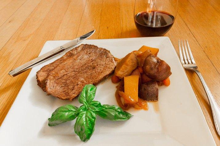 plate of rump roast and potatoes