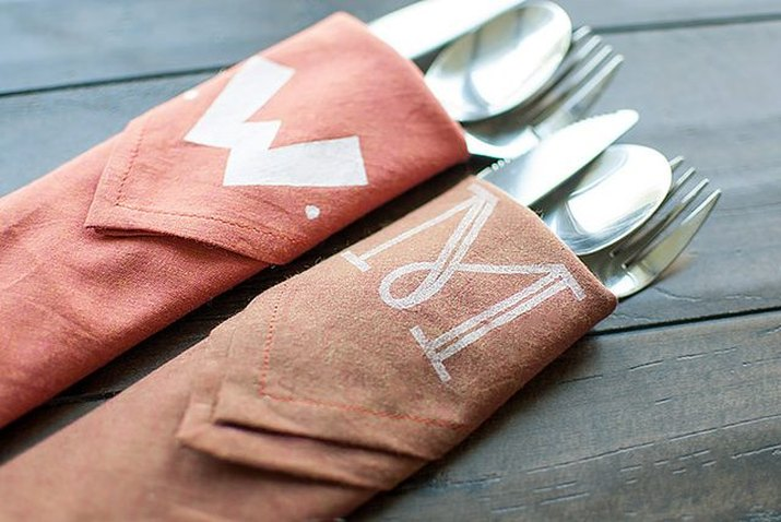 Get a high-end look for less by sewing and stamping your own monogrammed napkins.