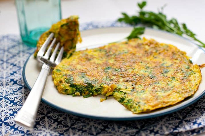 A plate of golden fried herb and zucchini frittata.