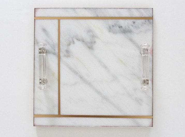 marble serving tray with gold stripes
