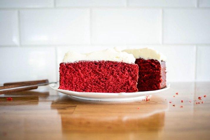 Red velvet pound cake invokes the colors of the season.