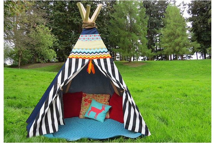 striped teepee set up outside