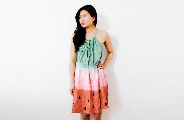 Dyed watermelon dress costume
