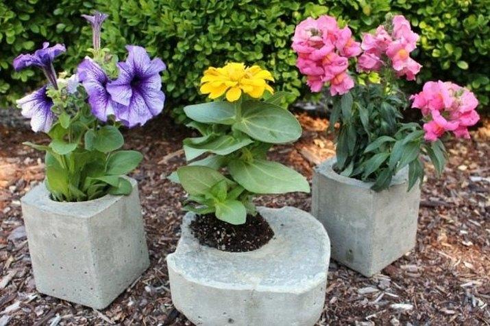 concrete planters from milk cartons