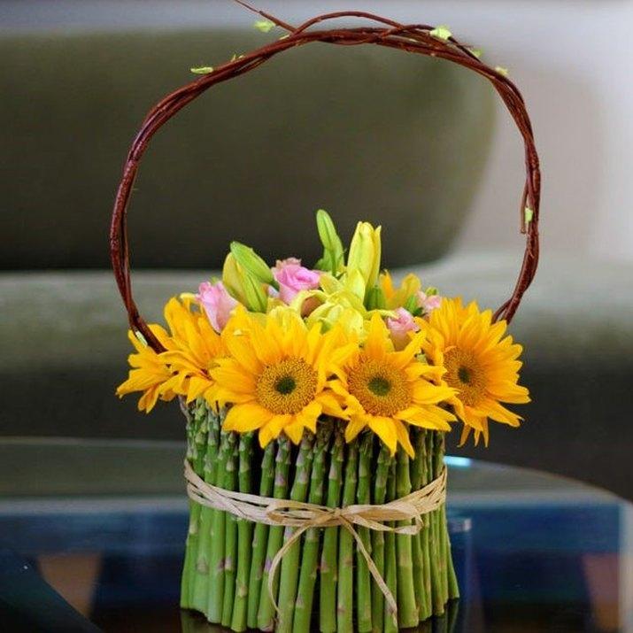 Asparagus stem flower basket