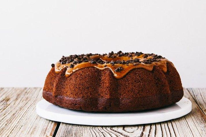 A bundt cake with a cookie butter glaze.