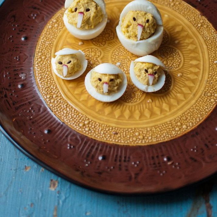 A plate of chicken deviled eggs.