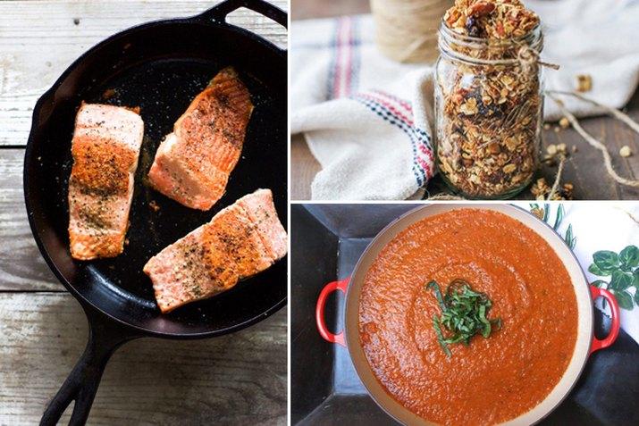 salmon, granola and tomato sauce.